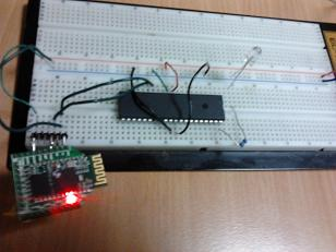 Test setup on breadboard